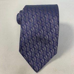 NWT Cerruti 1881 Blue w Silver Leaf Silk Necktie